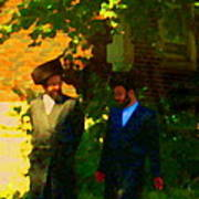 Covenant Conversation Two Men Of God Hasidic Community Montreal City Scene Rabbinical Art Carole Spa Art Print
