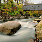 Covered Bridge At Bull Run - Kent Connecticut Art Print by Thomas Schoeller