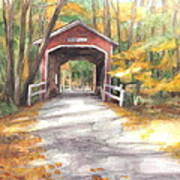 Covered Bridge Autumn Shadows Watercolor Painting Art Print