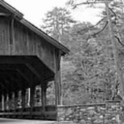Covered Bridge Black And White Art Print
