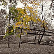Covered Bridge In Autumn Art Print