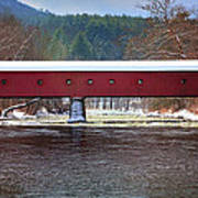 Covered Bridge Of West Cornwall-winter Panorama Art Print by Thomas Schoeller