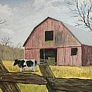 Cow And Barn Print by Norm Starks