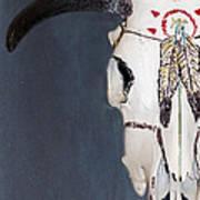 Cow Skull In Blue Art Print