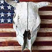 Cow Skull On Folk Art American Flag Art Print by Garry Gay