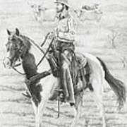 Cowboy And Horse No Fences Art Print