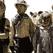 Cowboy And Indian Armory Park Tucson Arizona Black And White Toned Art Print