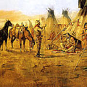 Cowboy Bargaining For The Indian Girl Print by Charles Russell