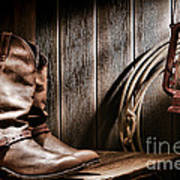 Cowboy Boots In Old Barn Art Print