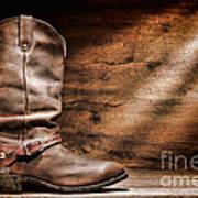 Cowboy Boots On Wood Floor Art Print