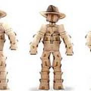 Cowboy Box Characters On White Art Print