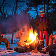 Cowboy Campfire Print by Inge Johnsson