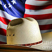 Cowboy Hat And American Flag Art Print