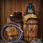 Cowboy Hat And Bronco Riding Gloves Art Print by Paul Ward