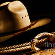 Cowboy Hat And Lasso Art Print by Olivier Le Queinec
