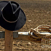 Cowboy Hat And Rope On Fence Art Print by Olivier Le Queinec