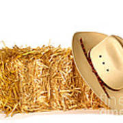Cowboy Hat On Straw Bale Art Print by Olivier Le Queinec