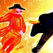 Cowboy Rodeo Clown And Black Bull 1 Art Print