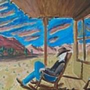 Cowboy Sitting In Chair At Sundown Art Print