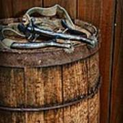 Cowboy Spurs On Wooden Barrel Art Print