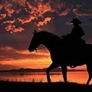Cowboy Sunset Art Print