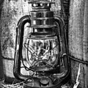 Cowboy Themed Wood Barrels And Lantern In Black And White Art Print