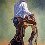 Cowboy With Saddle Art Print