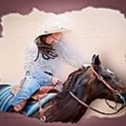 Cowgirl Barrel Racing 2 Art Print