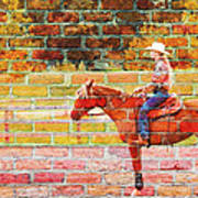 Cowgirl In Bricks Art Print