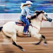 Cowgirl Rides Fast For Best Time Art Print