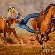 Cowgirl Steer Wrestling Art Print