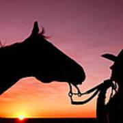 Cowgirl Sunset Art Print