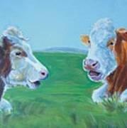 Cows Lying Down Chatting Art Print