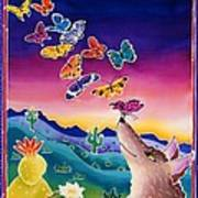 Coyote And The Laughing Butterflies Art Print