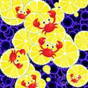 Crabs On Lemon Art Print
