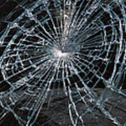 Cracked Glass Of Car Windshield Art Print