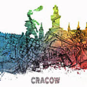 Cracow City Skyline Map Art Print