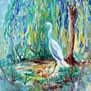 Crane And Willow Art Print