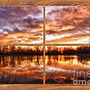 Crane Hollow Sunrise Barn Wood Picture Window Frame View Art Print