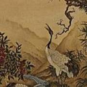 Cranes Beside A River With A Plum Tree Art Print