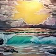 Crashing Wave At Sunrise Art Print
