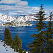 Crater Lake Winter Panorama Art Print
