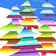 Crazy Christmas Trees Art Print