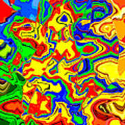 Crazy Day Abstract In Primary Colors  Art Print