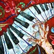 Crazy Fingers Piano Square Art Print