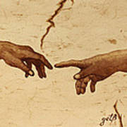 Creation Of Adam Hands A Study Coffee Painting Art Print