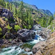 Creek Flowing Through Rocks, Icicle Art Print