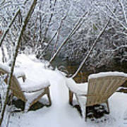 Creekside Chairs In The Snow 2 Art Print