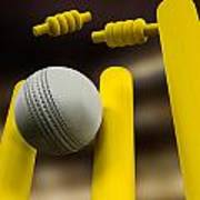 Cricket Ball Hitting Wickets Night Art Print