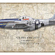 Cripes A Mighty P-51 Mustang - Map Background Art Print
